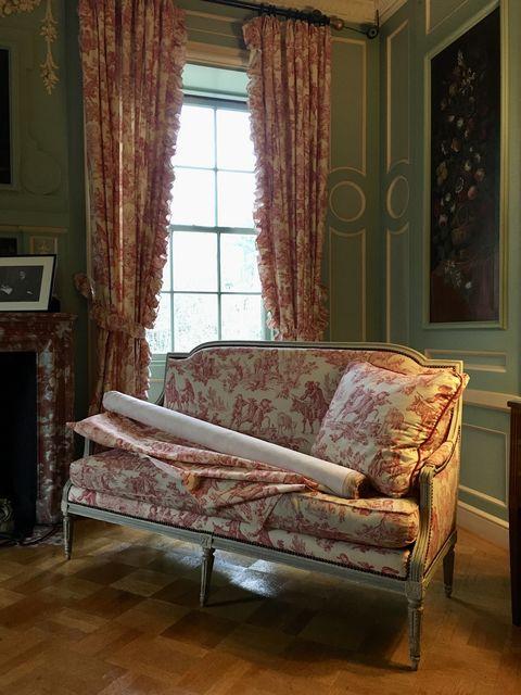 Furniture, Room, Curtain, Interior design, Bed, Window treatment, Couch, Floor, Bedroom, studio couch,