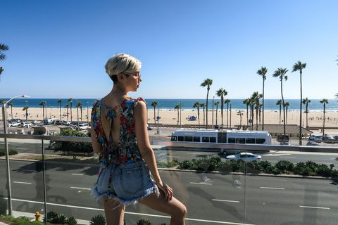 Vacation, Summer, Travel, Tourism, Blond, Footwear, Tree, Sea, Photography, Street fashion,