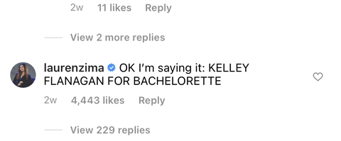 lauren zima's comment on kelley flanagan's instagram
