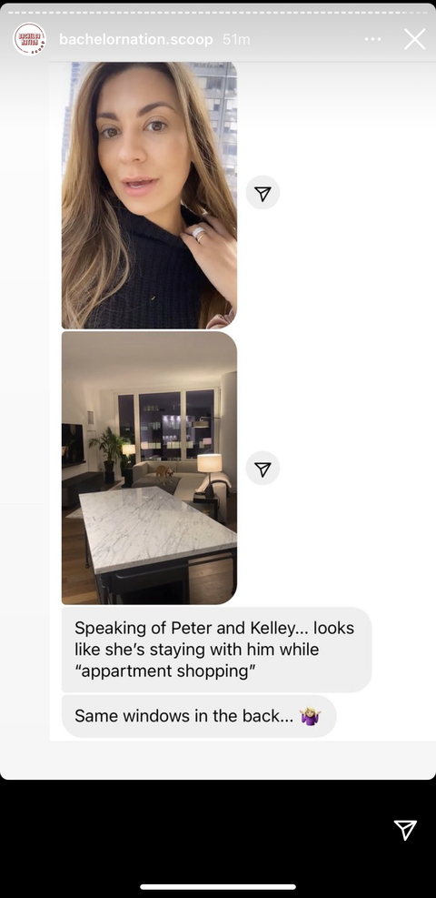 peter weber and kelley flanagan's instagram stories of the same windows