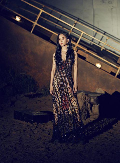 Clothing, Fashion, Beauty, Dress, Fashion design, Photo shoot, Fashion model, Textile, Long hair, Photography,