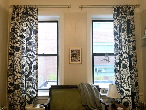Curtain, Interior design, Window treatment, Room, Living room, Window covering, Property, Window, Textile, Furniture,