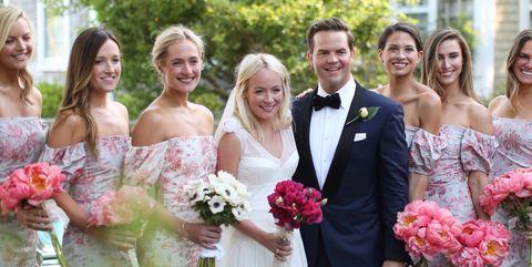 Bride, Gown, Photograph, Dress, Wedding dress, Bridal clothing, Pink, Ceremony, Flower Arranging, Wedding,