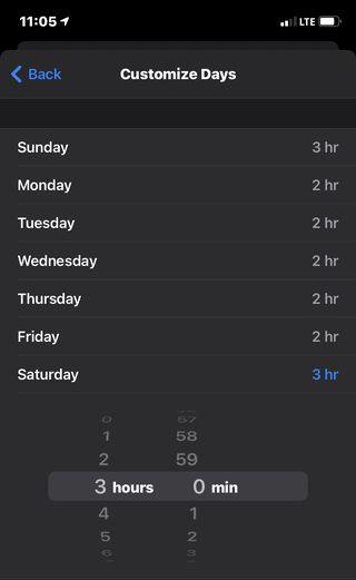 pantalla de iphone que muestra los límites de tiempo de la aplicación