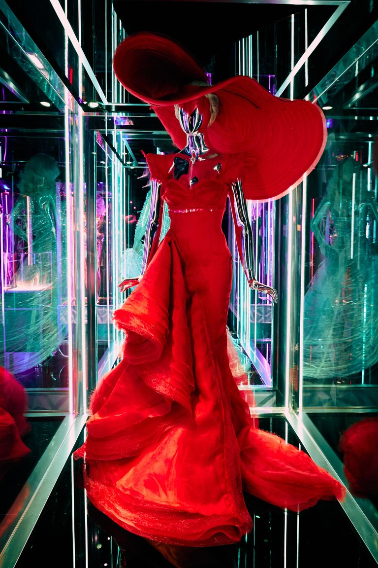 A red dress on display.