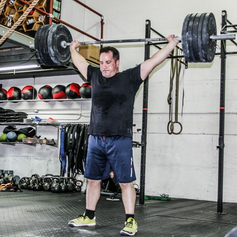 Strength training, Physical fitness, Barbell, Exercise equipment, Shoulder, Overhead press, Gym, Weightlifting, Weight training, Weights,
