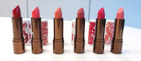 Lipstick, Red, Cosmetics, Lip, Lip care, Material property, Tints and shades, Liquid,