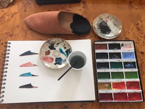 Watercolor paint, Palette, Paint, Ceramic, Circle, Tableware, Art,