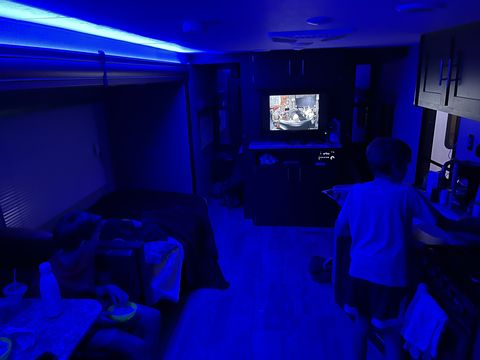 blue lit led interior of rv