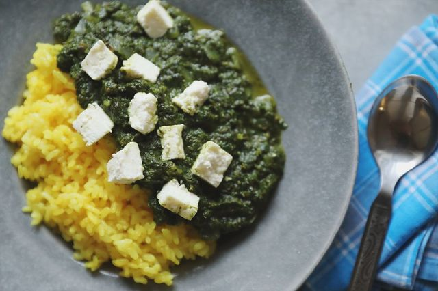 Food, Cuisine, Dishware, Kitchen utensil, Cutlery, Recipe, Ingredient, Spoon, Leaf vegetable, Callaloo,