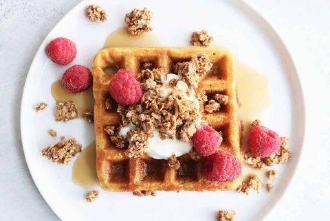 Dish, Food, Cuisine, Breakfast, Meal, Waffle, Ingredient, Belgian waffle, Snack, Produce,