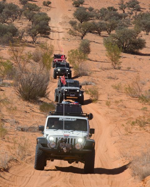 BF Goodrich 50th Anniversary East-West Australia Jeep Expedition line of Jeeps