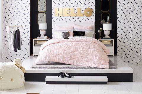 Bedroom, Furniture, Decoration, Room, Wall, Bed, Bed sheet, Interior design, Bedding, Bed frame,