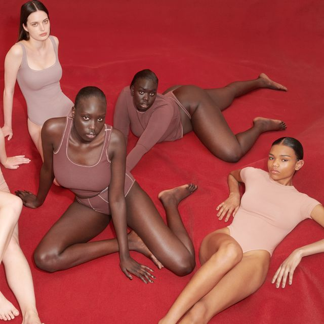 six models wear skims underwear and clothing in a review of skims products from bazaar editors