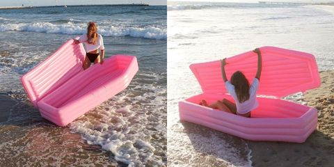 a millennial pink coffin shaped pool float exists and there s a