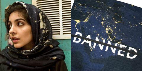 Blue, Abaya, Textile, Black hair, Veil, Art,