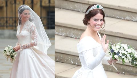 Kate Middletons Wedding Dresses.How Princess Eugenie S Royal Wedding Dress Compares To Kate