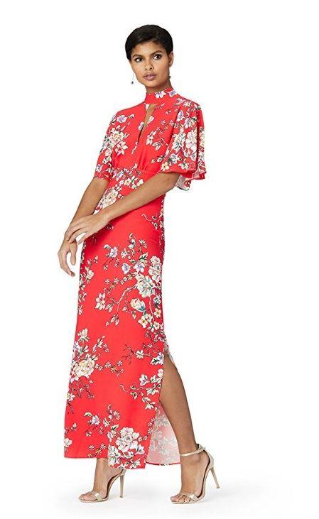 Clothing, Fashion model, Dress, Red, Formal wear, Pink, Fashion, Magenta, Sleeve, Shoulder,