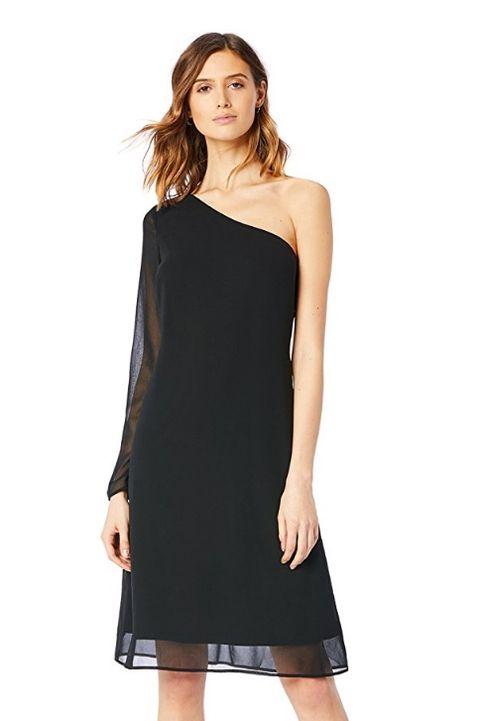 Clothing, Dress, Shoulder, Black, Cocktail dress, Day dress, Joint, Neck, Little black dress, Sleeve,