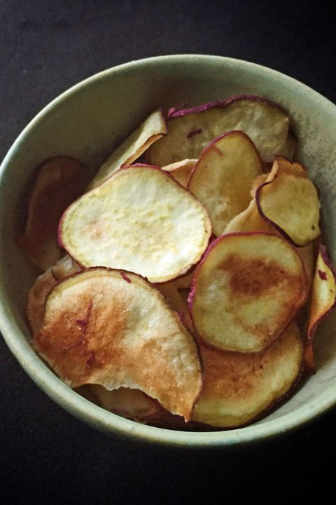 Dish, Food, Junk food, Cuisine, Potato chip, Ingredient, Produce, Fried food, Fried aubergine, Potato,
