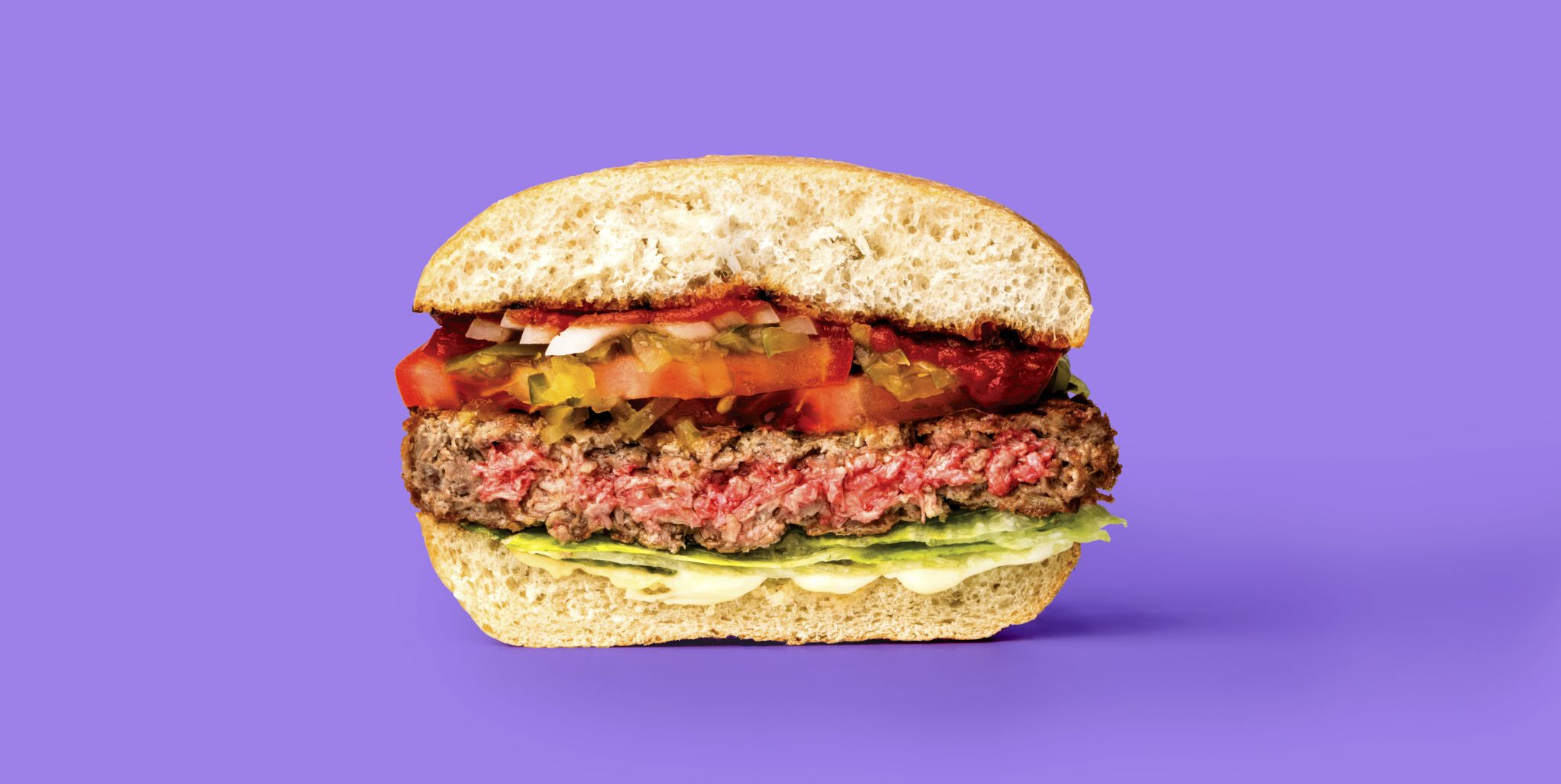 Impossible burger patty cut in half