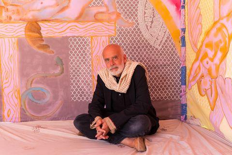 Pink, Guru, Sitting, Photography, Pattern, Smile, Art,