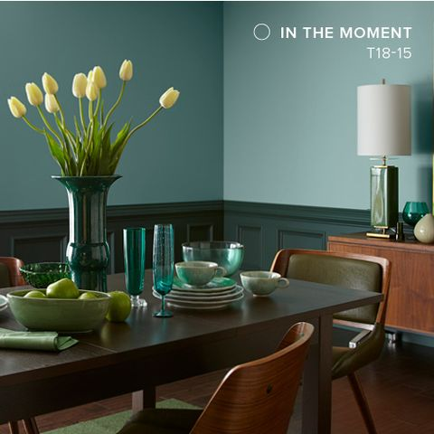 Green, Room, Turquoise, Interior design, Furniture, Dining room, Table, Property, Wall, Yellow,