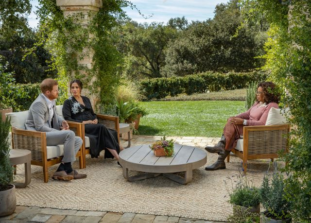 prince harry and meghan markle's interview with oprah winfrey, which was filmed at gayle king's house