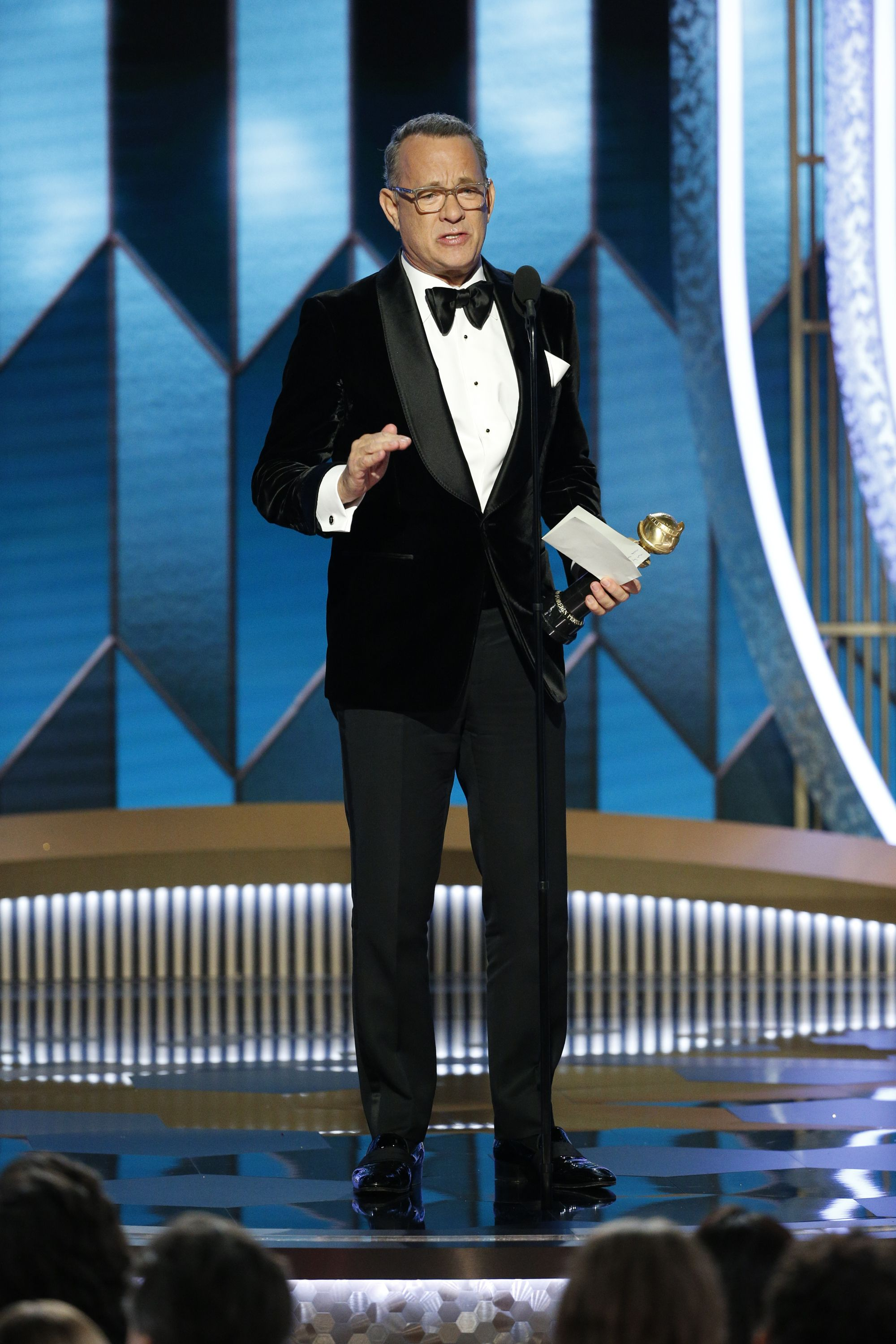 Tom Hanks Fought Back Tears to Deliver an Emotional Golden Globes Speech Tonight