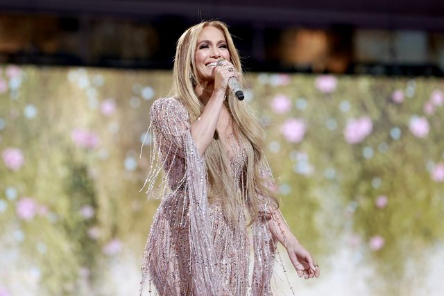jlo in a sequin outfit on the stage of the global citizen vax live concert