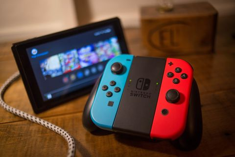 a nintendo switch seen with the main controller