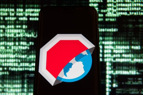 Adblock Browser logo is seen on an Android mobile device