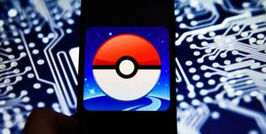Pokemon Go logo is seen on an android mobile phone