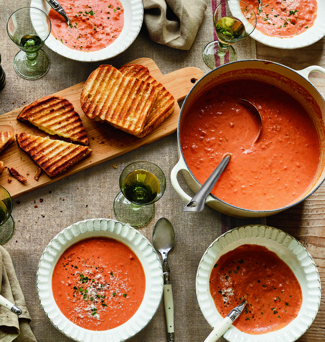 grilled cheese sandwiches and tomato bisque