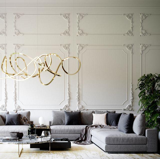 White, Living room, Room, Interior design, Furniture, Lighting, Light fixture, Wall, Chandelier, Ceiling,