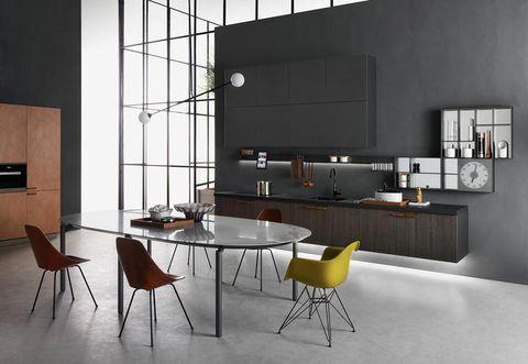 Room, Floor, Wood, Interior design, Flooring, Furniture, Table, Glass, Wall, Chair,