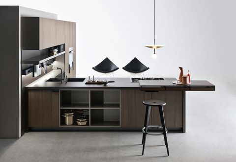 Wood, Room, Interior design, Shelving, Furniture, Floor, Line, Table, Wall, Cabinetry,