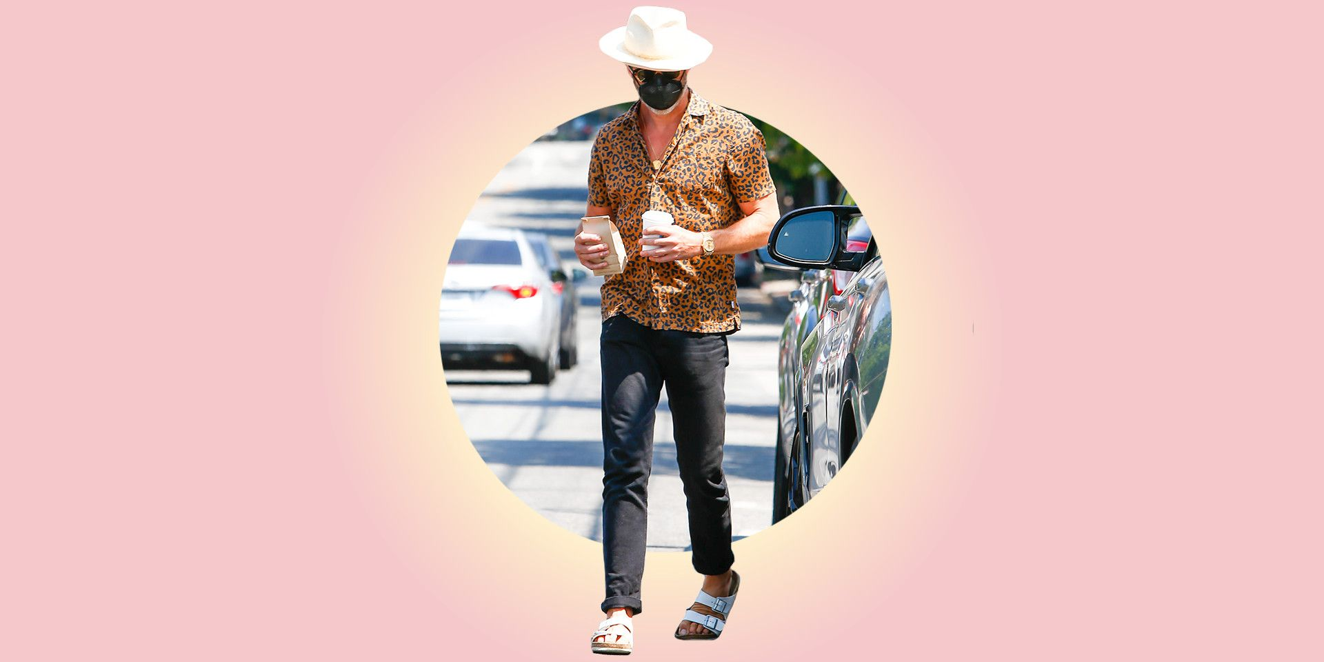 Chris Pine, the People's Chris, Is Back at it Again With the White Birks (and a Leopard-Print Shirt)