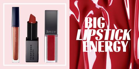 Red, Cosmetics, Beauty, Product, Lip, Lipstick, Pink, Material property, Lip gloss, Brand,