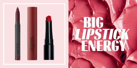 Red, Cosmetics, Lipstick, Pink, Lip, Product, Beauty, Text, Material property, Lip gloss,