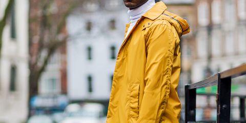 Outerwear, Yellow, Street fashion, Clothing, Overcoat, Coat, Raincoat, Fashion, Jacket, Workwear,