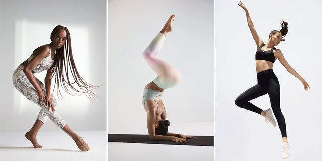 three models wearing victoria's secret sports bras and leggings in a campaign