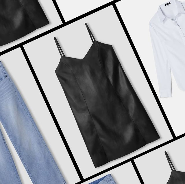 universal standard slip dress, jeans, and button down shirt sold in the universal standard sample sale