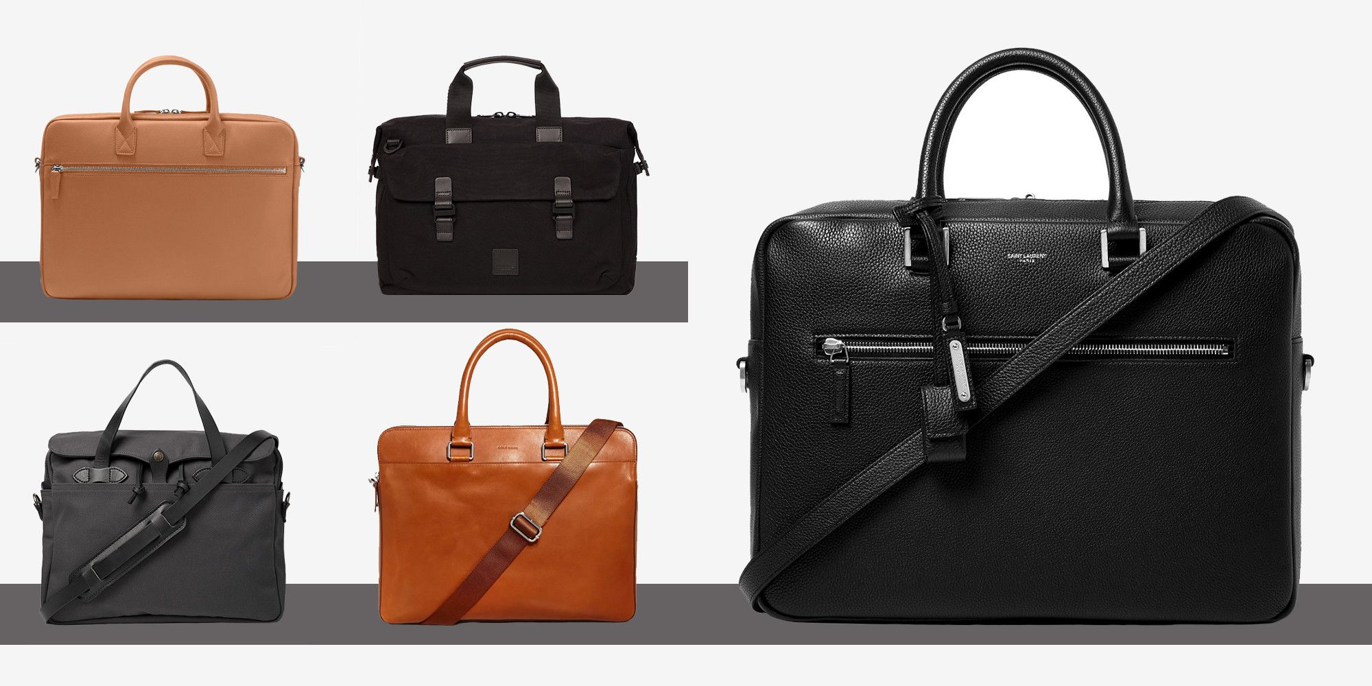 Fashion Casual Business Men Leather Briefcase Bag Trendy Solid Leather Mens Handbag Set black
