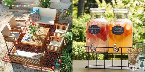 Mason jar, Table, Drinkware, Backyard, Brunch, Plant, Drink, Tableware, Party,
