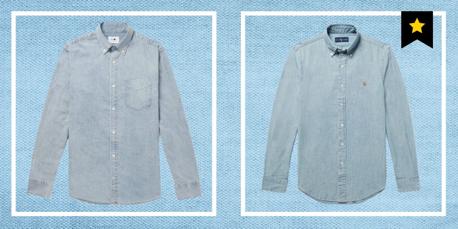 Mens Long Sleeve Denim Shirt Slim Fit Casual Vintage Chambray Long Sleeve Button Down Shirt with Pocket