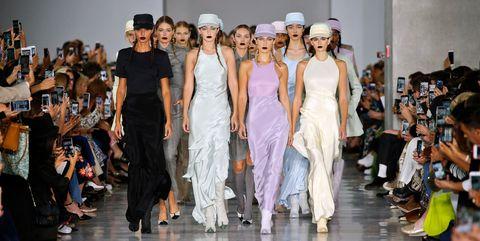 Footwear, Event, Dress, Fashion show, Runway, One-piece garment, Fashion, Fashion model, Gown, Model,