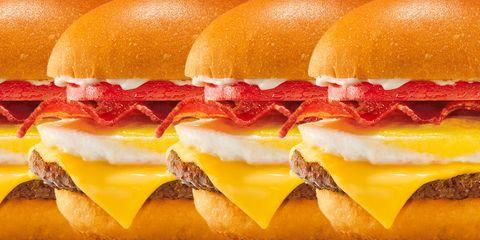 Food, Junk food, Breakfast sandwich, Hamburger, Fast food, Dish, Cheeseburger, Cuisine, Ingredient, Bacon sandwich,
