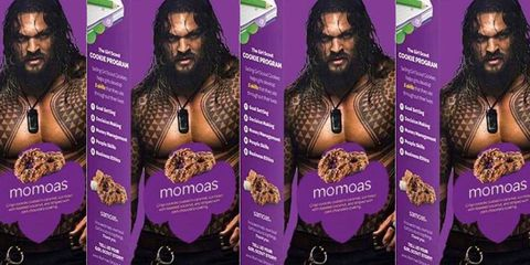 A Girl Scout Put A Photo Of Jason Momoa On A Box Of Samoa Cookies