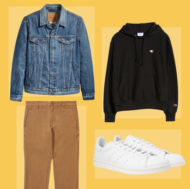 Clothing, Denim, White, Jeans, Yellow, Footwear, Fashion, Textile, Outerwear, Jacket,